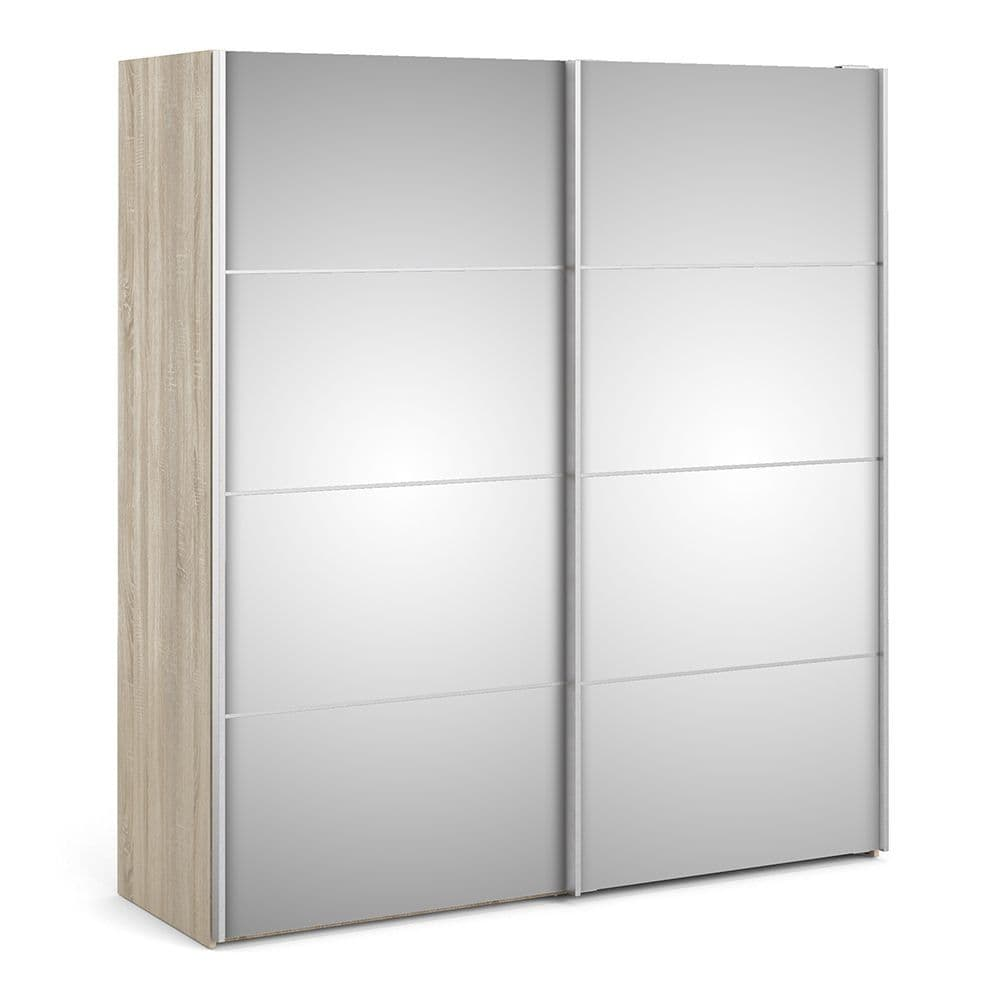 Valerian Sliding Wardrobe 180cm in Oak with Mirror Doors with 5 Shelves in Oak and Mirror